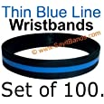 100 Thin Blue Line Silicone Wristbands In Support Memory Police Officer