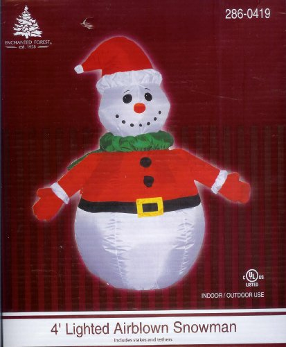 Snowman Santa 4 Foot Tall Christmas Airblown