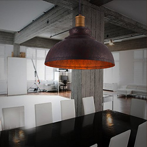 """BAYCHEER HL371892 Industrial Retro style Iron 11.8""""Wide Antique Rust Loft Metal Fixture Pendant Lights Lamps with 1 Light, Brown 1"""