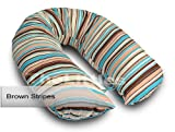 BRAND NEW FEEDING NURSING PILLOW BABY MATERN ITY BREAST PREGNANCY SUPPORT 170 CM (Brown Stripes)