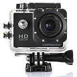 DBPOWER ウェアラブルカメラ ブラック 1080P フルHD 1200万画素 30メートル防水 170度広角レンズ アウトドアスポーツや空撮に最適