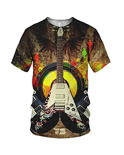 All Over 3D Print Cool Electric Guitar Fashion Men'S T Shirt, White, M
