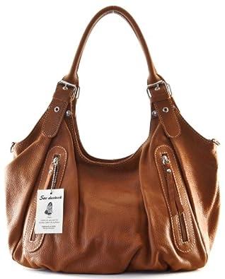 """SAC DESTOCK - Sac à Main CUIR """"Grainé"""" - Réf: SEVILLE / Nouvelle Colllection / Promotion / Handbag Leather (COGNAC FONCE)"""