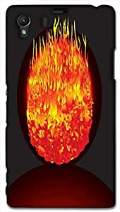 Timpax Light Weight One-piece construction Hard Back Case Cover Printed Design : A egg and fire.Exclusively Design For : Sony L39-H ( Sony 39 )
