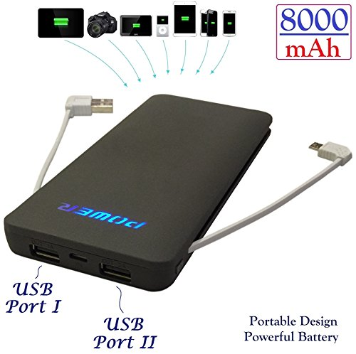 Josi Minea 8000mAh Dual USB Power Bank (with built-in Micro USB Cable)