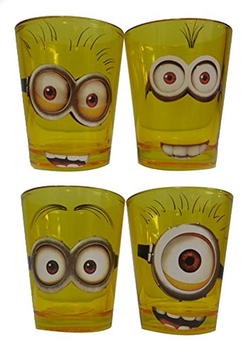 Silver Buffalo DM031SG2 Despicable Me 4-Piece Colored Mini Glass Set, Yellow - 1