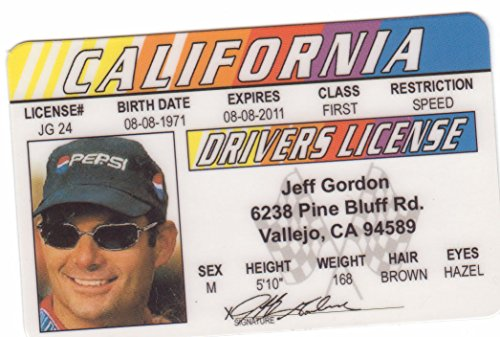 Jeff Gordon Novelty Drivers License / Fake I.d. Identification for Nascar Fans - 1