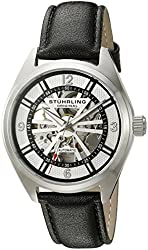 Stuhrling Original Men's 'Legacy' Stainless Steel and Leather Automatic Watch, Color:Black (Model: 598.01)