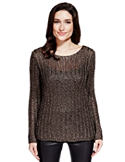 Per Una Speziale Open Knit Metallic Jumper