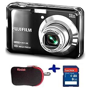 Bundle: Fuji AX650 Digital Camera in Black + Sandisk SD 8GB + Kodak Neoprene Case (Fujifilm Finepix AX650 Black, 16MP, 5xOptical Zoom, 2.7