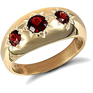 Jewelco London 9ct Solid Gold men's Garnet set 3 stone trilogy Ring,Size W