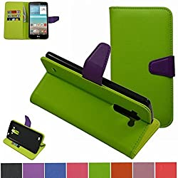 LG G Vista Case,Mama Mouth [Stand View] Folio Flip Premium PU Leather [Wallet Case] With Built-in Media Stand ID Credit Card / Cash Slots and Inner Pocket Cover For LG G Vista VS880, Green