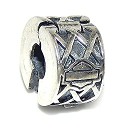 925 Solid Sterling Silver Harley Davidson Smbol and Lattice Design Clip Lock Charm Bead