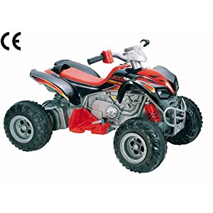 12v Mega Electric Ride On Kids Quad Bike In Black and Red - Ages 3+ Years