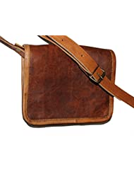 """HLC-(Handmade Leather Craft) 9"""" Real Leather Full Flap Ladies Messenger Brown Bag"""