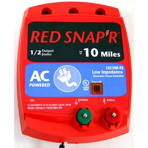 Red Snap'R Eac10M-Rs 10-Mile Ac Low Impedance Fence Charger Outdoor/Garden/Yard Maintenance (Patio & Lawn Upkeep)