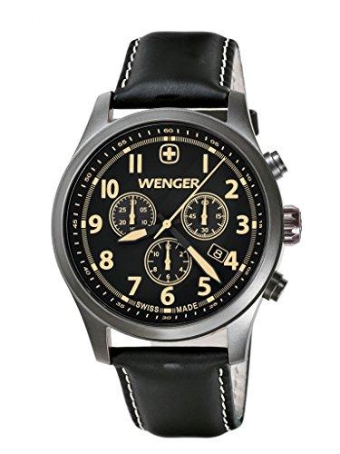wenger - 010543104 - Montre Homme - Quartz Analogique - Bracelet Cuir Noir