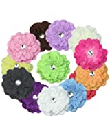 RHX 13x Hot Sale Beautiful Peony Crystal Head Hat Flower Hair Clip Pin Girl Lady New