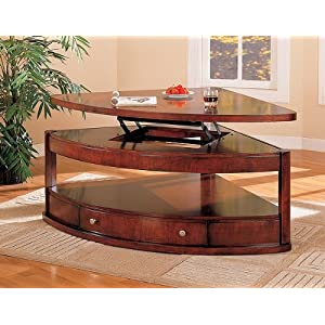 Corner Coffee Table Coaster Pie Shaped Lift Top Occasional Sectional Coffee Table