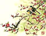 """Sing a Happy Song"" Two Birds Perch on a Cherry Tree in Springtime, Giclee Print of Original Sumi-e Flower Painting, 14 x 18 Inches"