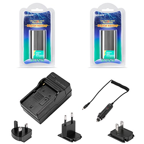 Neewer® High-Capacity 2600mAh Li-ion Battery(Samsung Cell) +World Charger Deluxe Kit for Neewer CN-160,CN-216,CN-126 CN-304 & other LED Light and Sony HandyCams, Nanguang, Polaroid& Lights Using NP-F550/F570/F530 Batteries, Package includes: (2x)2600mAh Li-ion Battery+(1)4 in 1 World-Compatible Battery Charger(UK+EU+US Plug+ CAR charger)