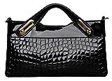 SaiErLong® Womens Evening Bag Crocodile Fashion Black Genuine Leather Clutch Purse Wallets Shoulder Bag