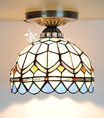 8-Inch Blue Mediterranean Style Tiffany Lamp Stained Glass ...
