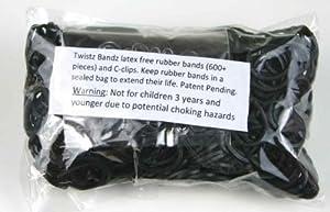 Twistz Bandz Latex Free Rubber Band Refill + C-clips - Black