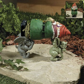 Garden Gnome Kidnapped By Gargoyles G'nappers Lawn Sculpture Outdoor Yard Statue Decor