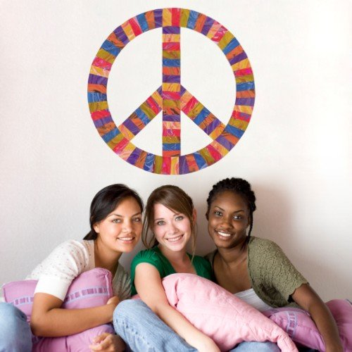 Peace Sign Movable Mural Decal (Repositionable) Peel and Stick