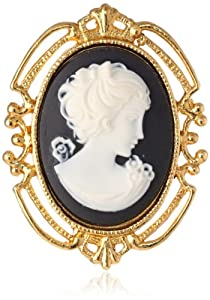 "Ben-Amun Jewelry ""Brass Cameo"" Brooch"