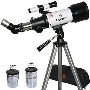 Gskyer Refractor 400x70mm Travel Telescope with 2 Eyepiece Aluminium Tripod & Canvas Case