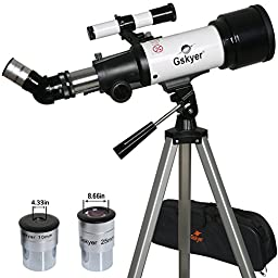 Gskyer Refractor 400x70mm Travel Telescope with 2 Eyepiece Aluminium Tripod & Canvas Case
