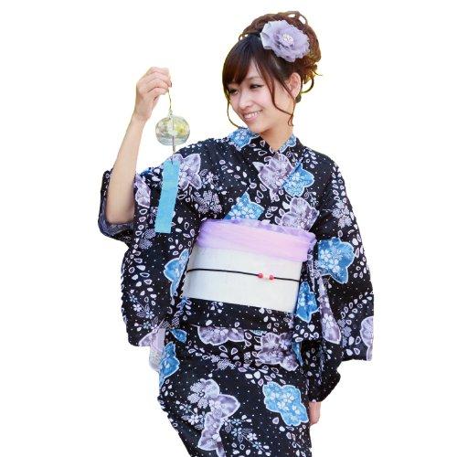 浴衣 セット レディース 変わり織り浴衣3点セット「黒地に絞り調青色桜」 浴衣 帯 下駄 女性 女性和服 女性浴衣 セット 花 大人
