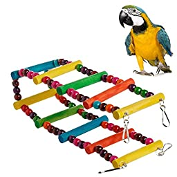 Chunshop Pet Bird Swing Wooden Bridge Ladder Climb Cockatiel Parakeet Budgie Parrot Toy (12 Steps)