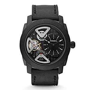 Fossil ME1121 Machine Twist Black Leather Men's Watch