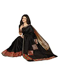 Cute Black Colored Printed Bhagalpuri Khadi Silk Saree By Triveni