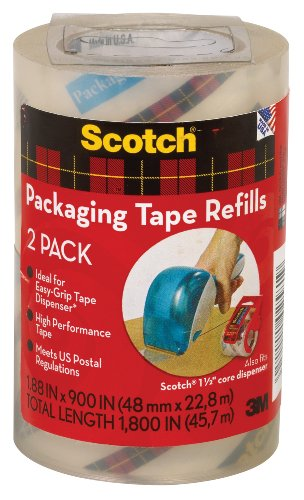 Scotch Packaging Tape Refill, 1.88 x 900 Inches, Clear, 2 Pack (DP-1000-RR-2) (Packing Tape Refill compare prices)