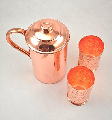 BLUE NIGHT Handmade Pure Copper Vessel Pitcher Jug with Two Glasses Mug Tumbler Set (Water Jug Spicket compare prices)