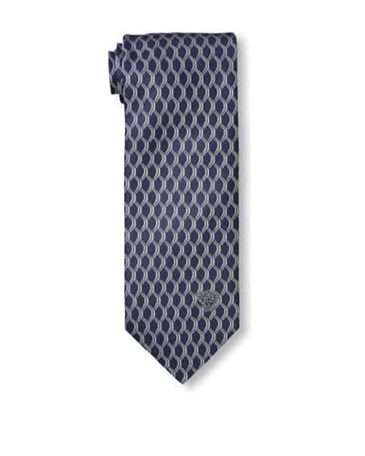 Versace Men's Scale Pattern Woven Silk Tie, Grey/Navy, One Size