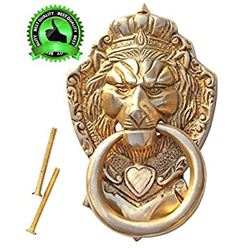 "PRACTICAL Door Knockers - SouvNear 6"" Lion Door Knocker with Hardware Large Antique Finish Lion Head Door Heavy Duty Brass Knocker - Door Decor"