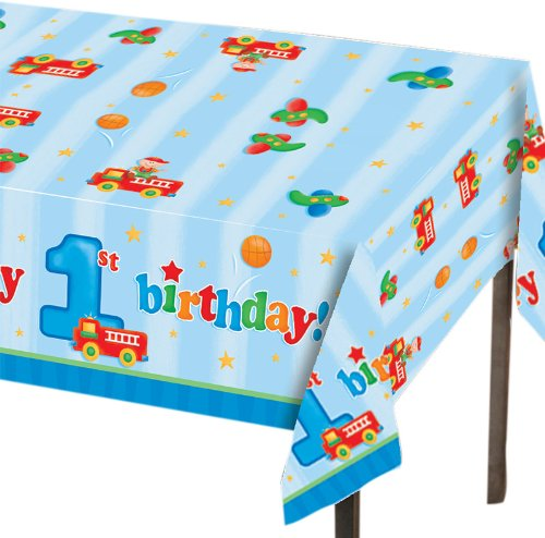 Creative Converting Fun at One Happy First Birthday Boy Plastic Table Cover, Rectangle 54 x 108""