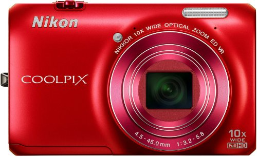 Nikon COOLPIX S6300 Compact Digital Camera - Red (16MP, 10x Optical Zoom) 2.7 inch LCD