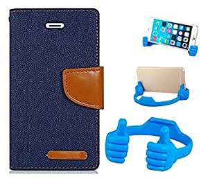 Aart Fancy Wallet Dairy Jeans Flip Case Cover for MotorolaMotoE (NavyBlue) + Flexible Portable Mount Cradle Thumb OK Designed Stand Holder By Aart Store.