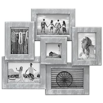 "Malden International Designs Berkshire Beveled 6 Opening Wall Collage Picture Frame, Holds 3-4"" x 6""/2-3"" x 5""/1-3"" x 3"" Photos, Graywash"