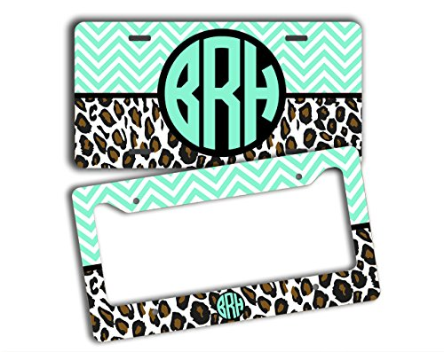 Monogrammed front license plate and back frame - Light aqua blue chevron with cheetah print - personalized car tag, vanity license plate and frame (SET) (License Plate Frame Cheetah Print compare prices)