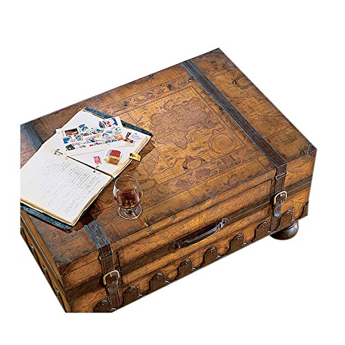 Trunk Coffee Table w Leather Appointments & World Map 1