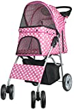 VIVO Four Wheel Pet Stroller, for Cat, Dog and More, Foldable Carrier Strolling Cart, Multiple Colors (Pink & White Polka Dot)