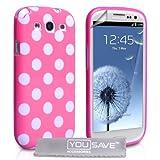 """Samsung Galaxy S3 Tasche Rosa Punkte Silikon H�lle Mit Displayschutz Und Poliertuchvon """"Yousave"""""""