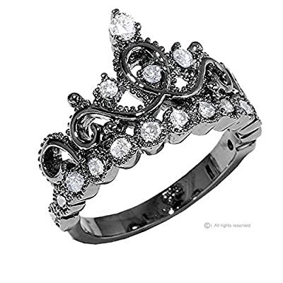 Sterling Silver Crown Ring / Princess Ring (Black Rhodium Plated)